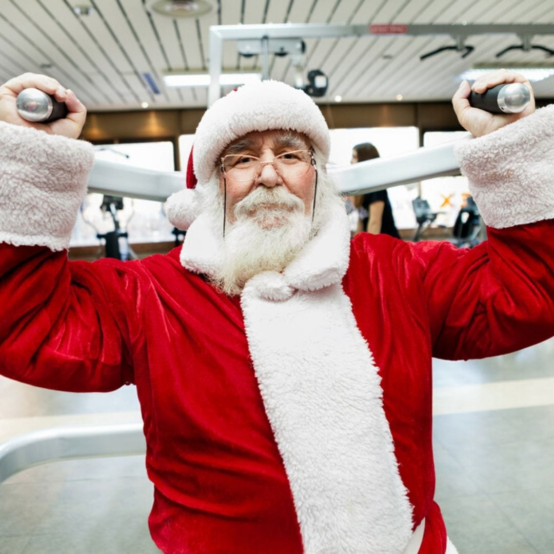 santa lifting weights