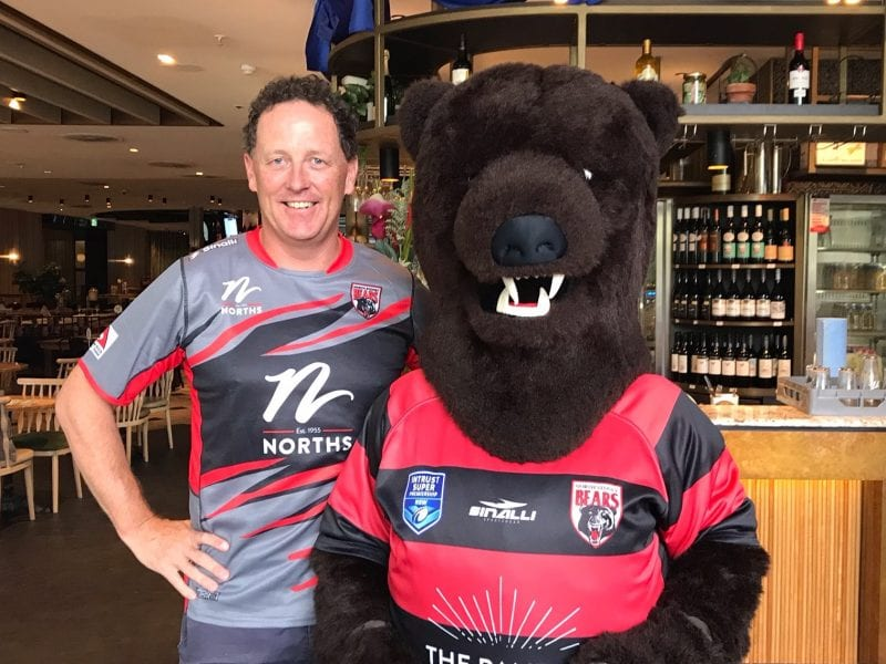 Peter with bears mascot